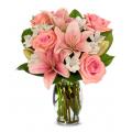 Μπουκέτο με Ολόφρεσκα Μιξ Λουλούδια μαζί με το Βάζο - ΜΠΟΥ 07232