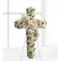 Funeral cross with chrysanthemums, roses and lilies - COND 39051