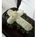 Funeral cross with carnations and roses - COND 39002