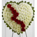 Heart funeral floral arrangement with roses and chrysanthemums - COND 39052