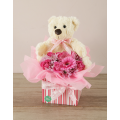 Pink arrengment with Teddybear