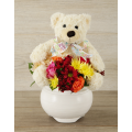 Mix Flowers with Teddybear in holder