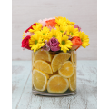 Mix Chrysanthemum and Roses with Lemon slices in Glass