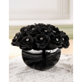 Arrangement with Black Roses in holder