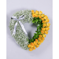 Heart with Yellow Roses and Gypsophila