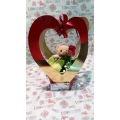 3D heart with teddybear and flowers
