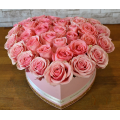 Pink Heart Shaped Box With Pink Roses