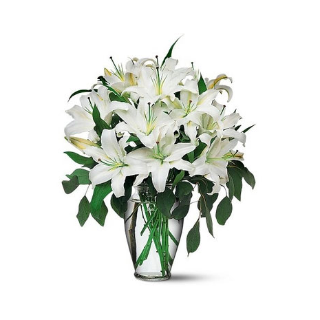 bouquet of white lilies ιn a vase  - ΜΠΟΥ 072245