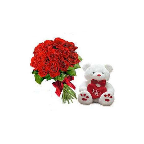 Μπουκέτο με Τριαντάφυλλα, Λούτρινο και Φυλλώματα - VAL 001205