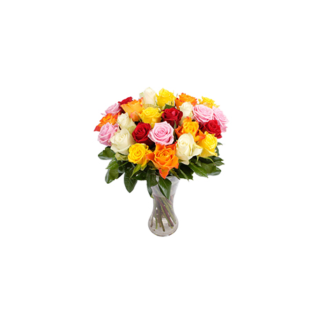 Roses mix colors in vase - ΤΡΙ 072248
