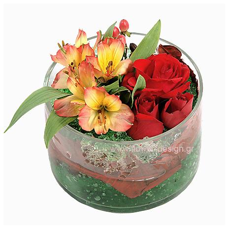 Αλστρομέριες, Τριαντάφυλλα και Τροπικά Φυλλώματα - GLASS 18033