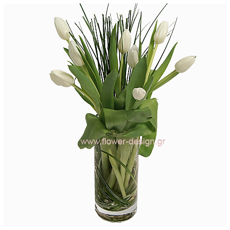 Tulips and Grassin a vaze  - GLASS 18038