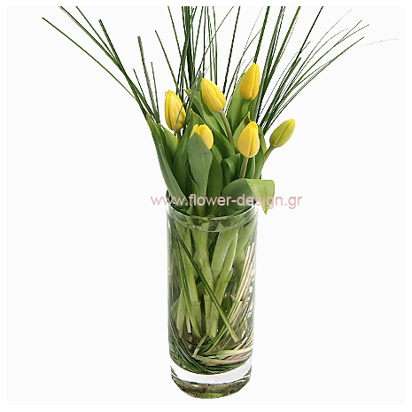 Tulips and Grass in a vaze  - GLASS 18041