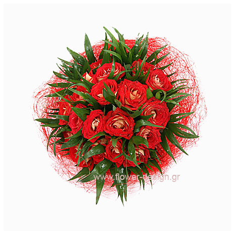 Bouquet of Roses & tropical leaves - VAL 11017
