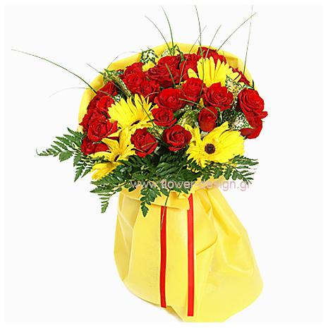 Τριαντάφυλλα και Ζέρμπερες - MOM 17009