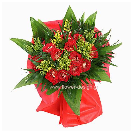 Στρογγυλό Μπουκέτο με Τριαντάφυλλα, Σολιντάγκο - VAL 11044