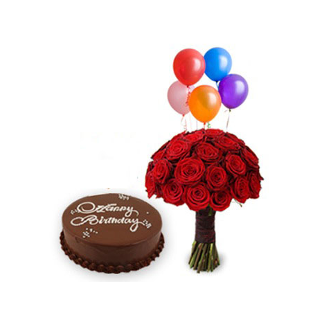 BOUQUET WITH ROSES,CAKE AND BALLOONS It is a SPECIAL gift  -  ΜΠΟΥ 072241