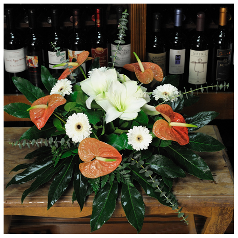basket with Anthurium, Ámarilis and Gerbera - BASK 23002