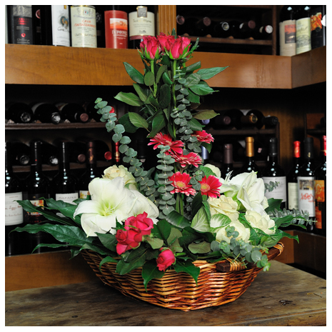 basket with Brassica, Ámarylis , roses and Gerberes - BASK 23013