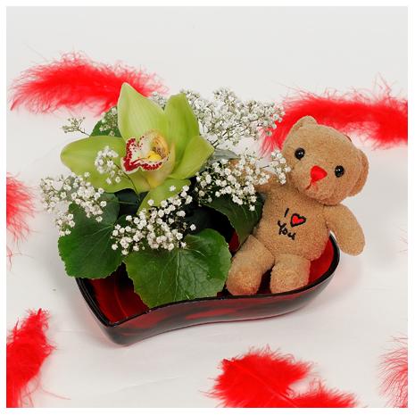 Καρδιά με Ορχιδέα και Λούτρινο - VAL 11047