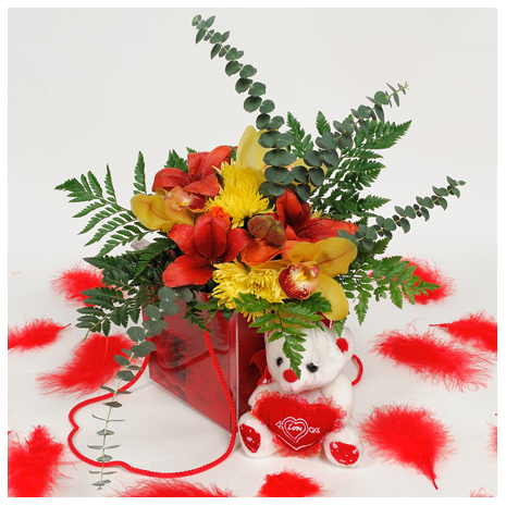 Orchis, Roses, Bear-toys & tropical leaves én the box - VAL 11030