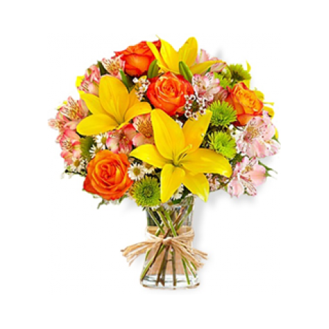 Fantastic bunch of flowers with Lilly, Roses, Chrysanthema and Fern's - BOU 0184