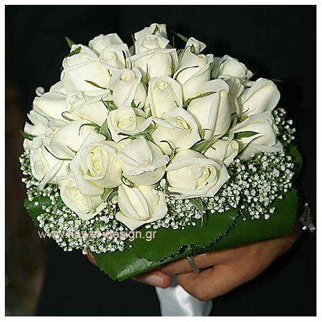 Νυφικό Μπουκέτο με Λευκά Τριαντάφυλλα, Γυψόφυλλο & Γκάλαξι Δειγμα δουλειας - GA2