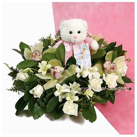 Ορχιδέες, Τριαντάφυλλα και Αρκουδάκι - BIRTH 16011