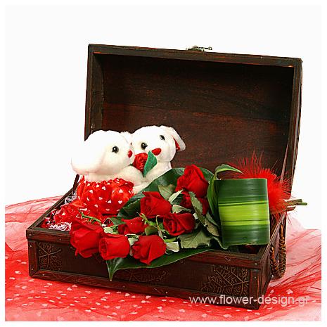 Τριαντάφυλλα και Λούτρινα σε βάση - VAL 11009
