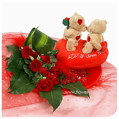 Red Roses and Tropical Leaves - VAL 11036