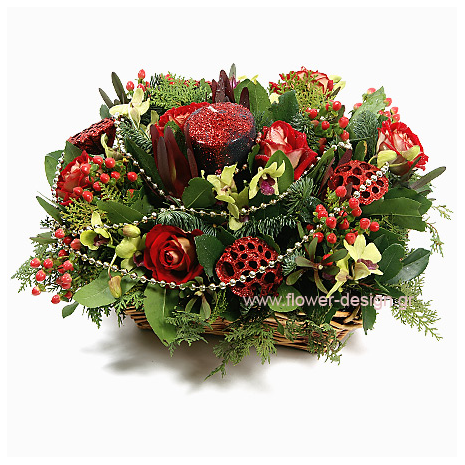floral arrangement of flowers Hypericum and Orchis in a basket - XMAS 44012