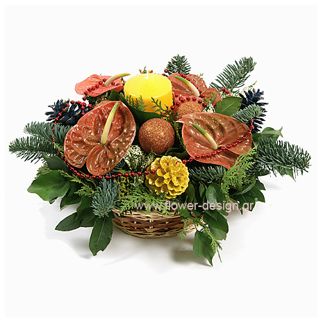 floral arrangement of flowers in a basket - XMAS 44016