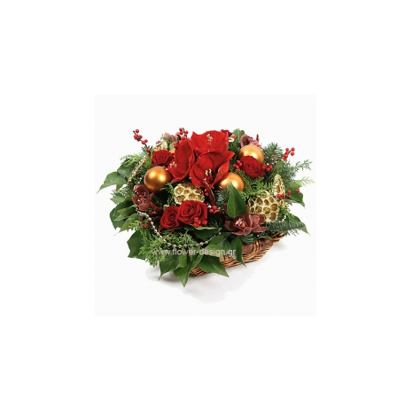 floral arrangement of flowers Orchis and Roses in a basket - XMAS 4401