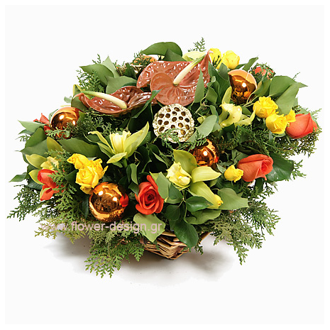 floral arrangement of flowers in a basket - XMAS 44019