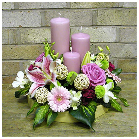 Christmas composition with roses, orchids and Casablanca  - XMAS 44004