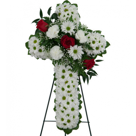 Cross with roses and chrysanthemums - COND 3905757