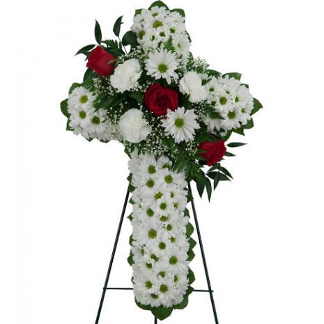 Σταυρός Κηδείας με Χρυσάνθεμα και Τριαντάφυλλα - COND 39058