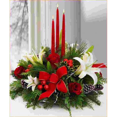 Σύνθεση Χριστουγέννων με Τριαντάφυλλα, Καζαμπλάνκα και Τροπικά Φυλλώματα - ΧΡΙ 021021