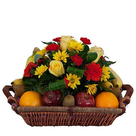 fruit basket and flowers - BEV 40002