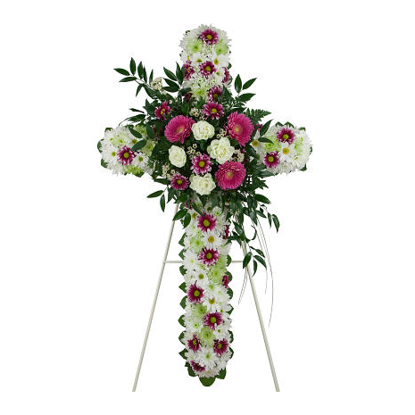 Cross funeral with special composition of roses, gerberas and chrysanthemums - COND 39057