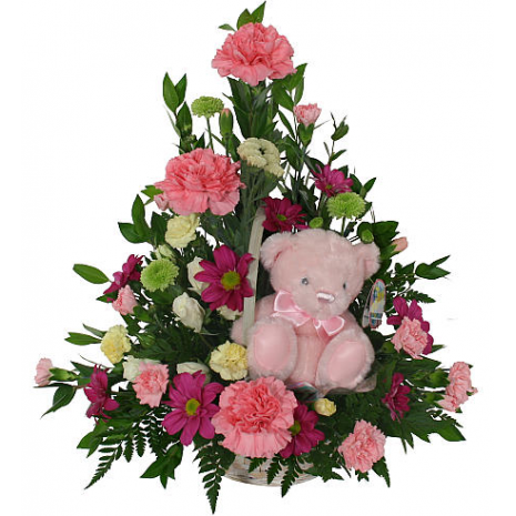 Basket with flowers and toys - BIRTH 14003