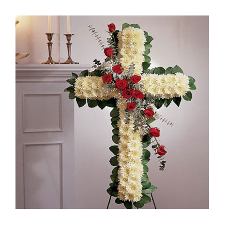 Cross funeral floral arrangement of roses and dahlias - COND 39004