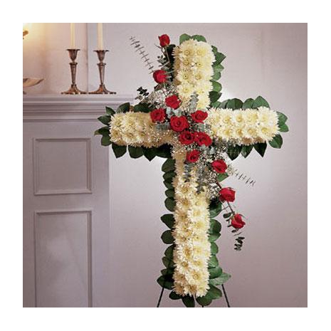Σταυρός Κηδείας με Ανθοσύνθεση από Τριαντάφυλλα και Ντάλιες - COND 39004