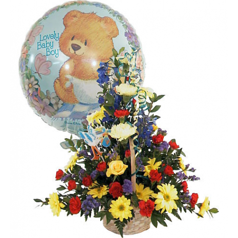 Miχ flowers and balloon ιn a  basket - BDAY 15004