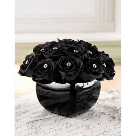 Arrangement with Black Roses in holder
