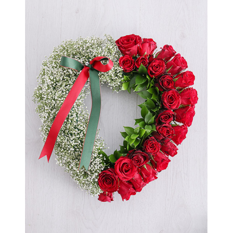 Heart with Red Roses and Gypsophila