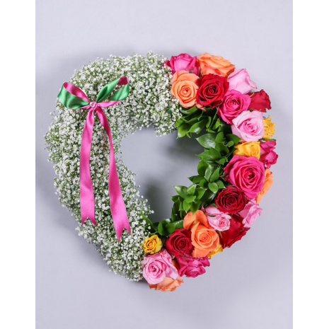 Heart with Mix Roses and Gypsophila
