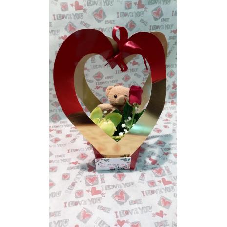 Τρισδιάστατη Καρδιά με αρκουδάκι ορχιδέα και τριαντάφυλλο και φυλόματα