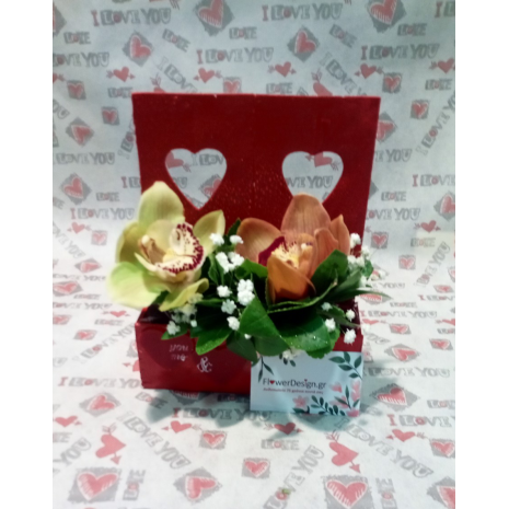Wooden Box With Hearts And Orchids