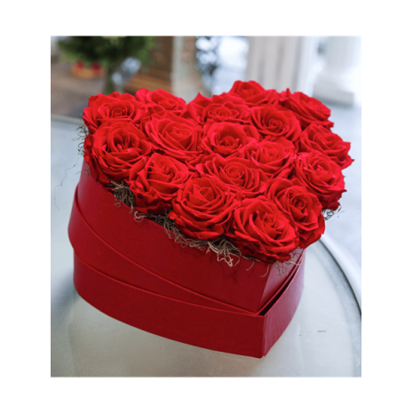 Red Heart Shaped Box With Red Roses
